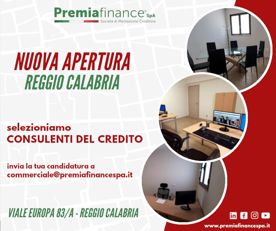 Premia Finance SpA, prosegue la crescita nazionale: attiva la nuova sede di Reggio Calabria.