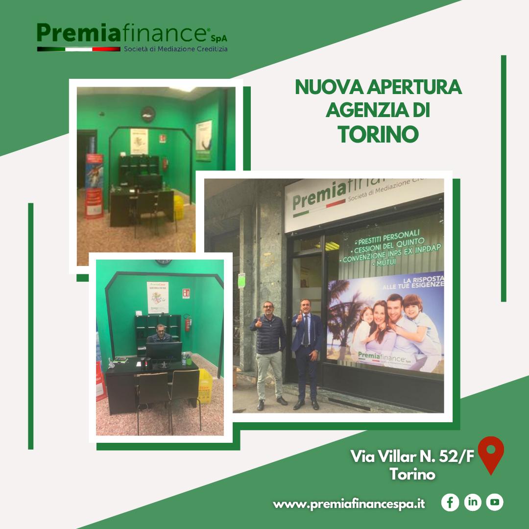 Prosegue la crescita di Premia Finance SpA, nuova apertura a Torino
