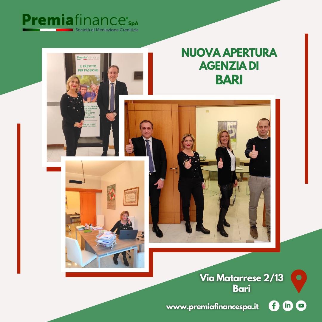 Premia Finance SpA cresce ancora, operativa la nuova sede di Bari