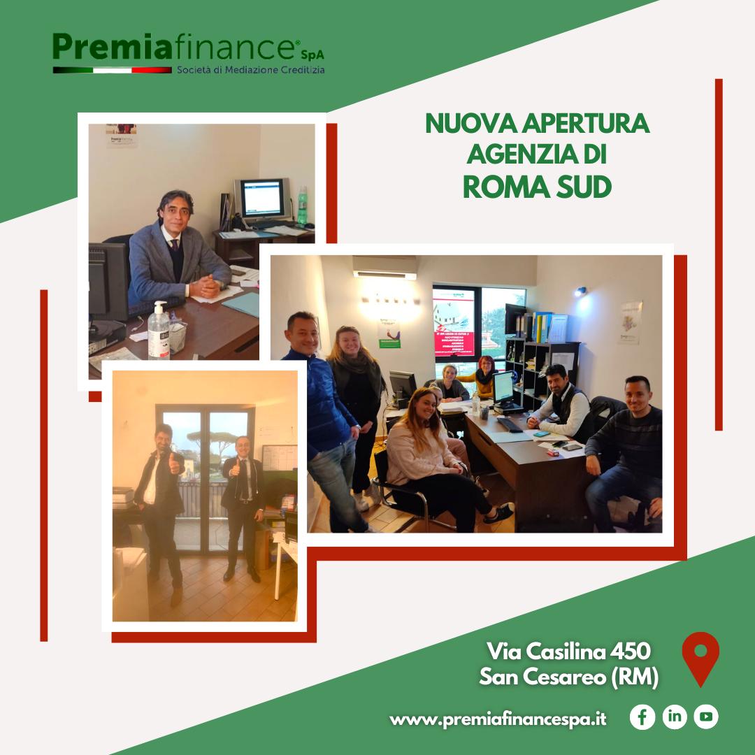 Premia Finance SpA cresce ancora, aperta nuova Agenzia a Roma Sud